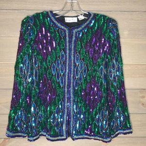 Laurence Kazar Jacket Vintage Silk Beads Sequin S